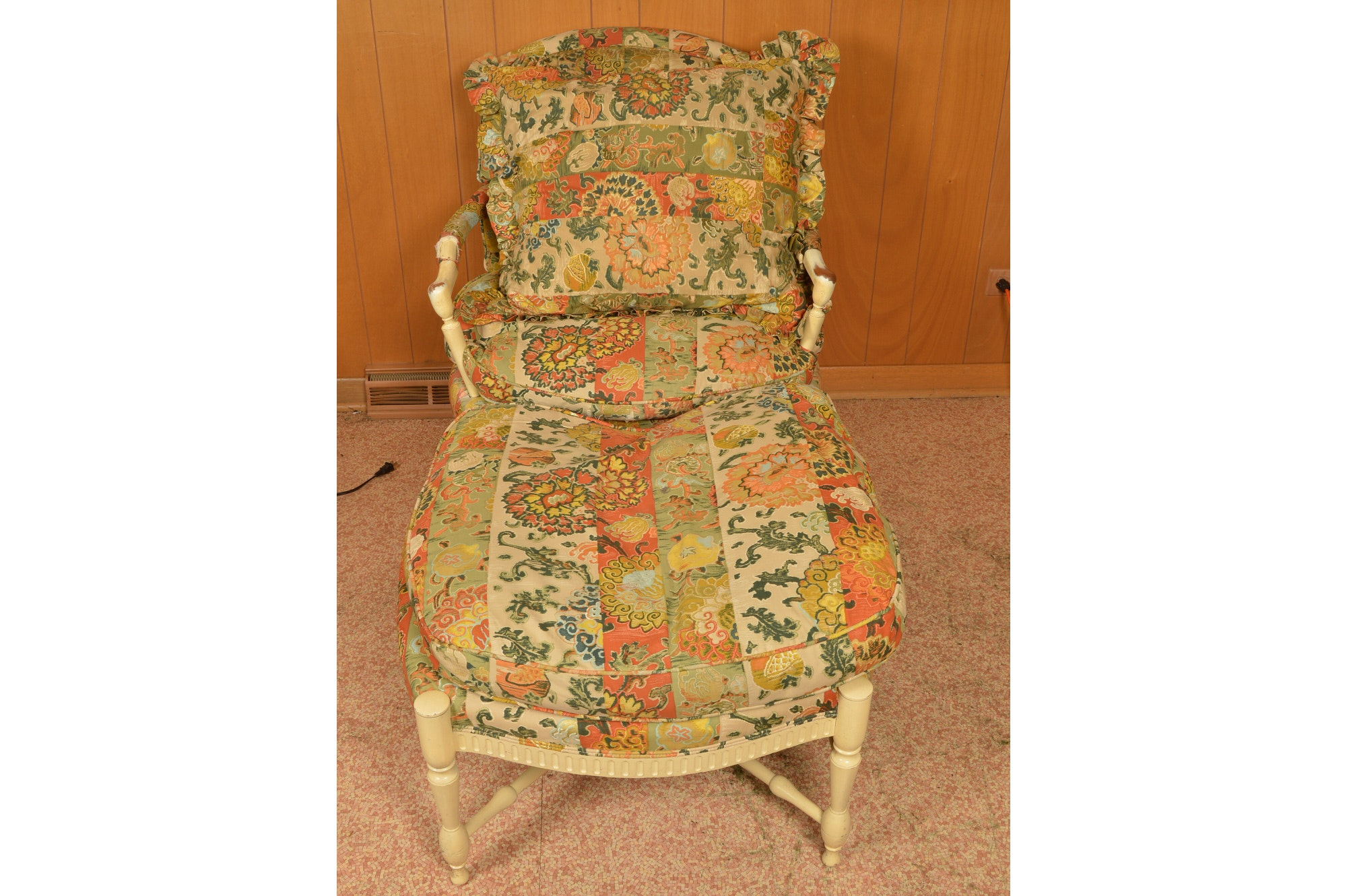 Vintage Armchair With Ottoman