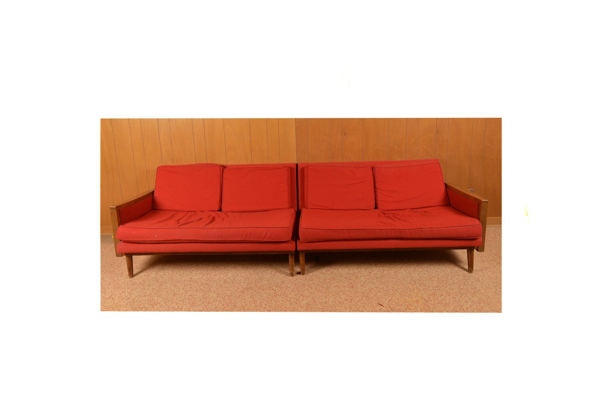 Mid Century Modern Style Red Sofa