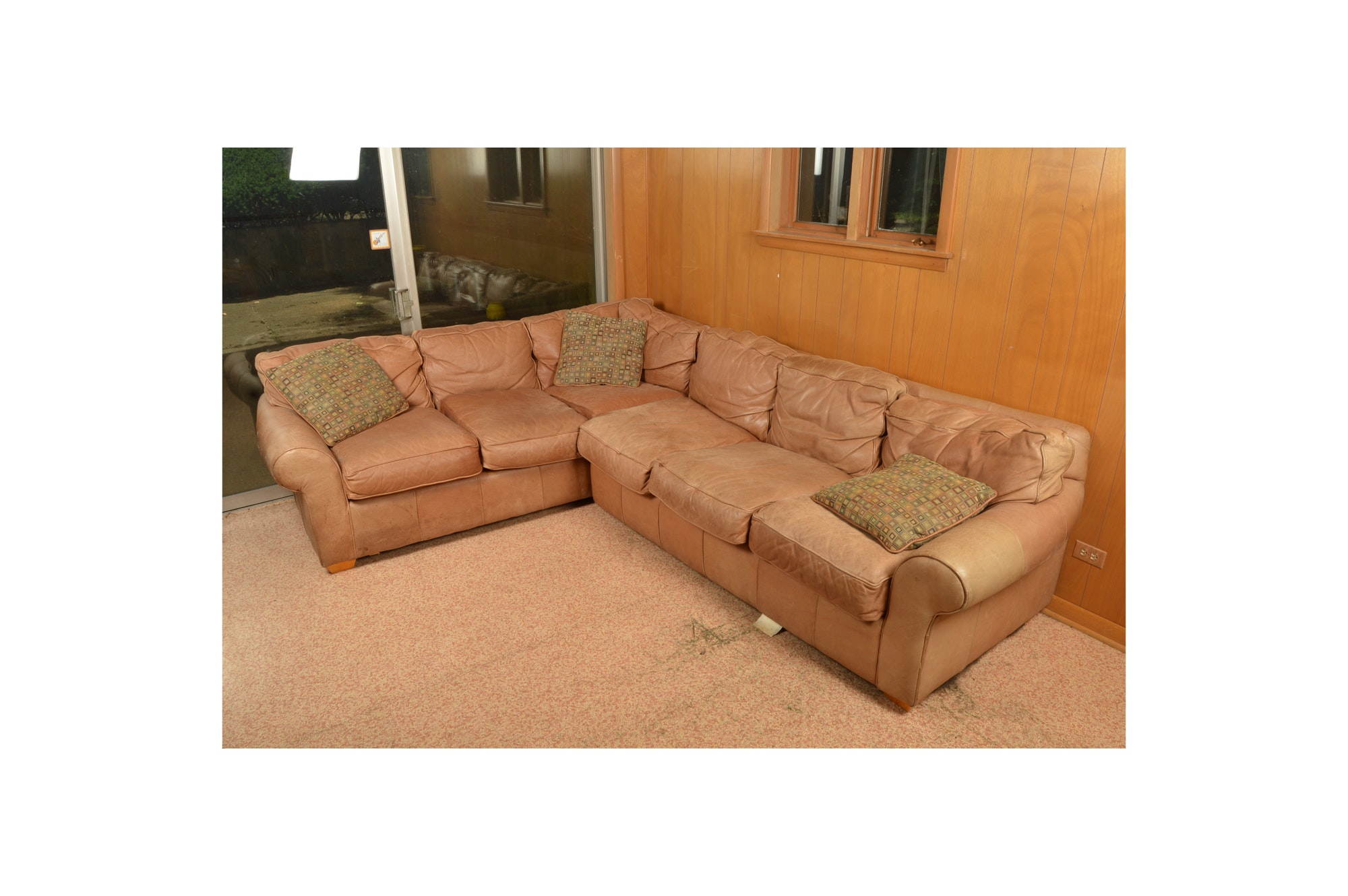 Brown Leather Sectional Sofa With Sealy Posturepedic Supreme Sleeper ...  sc 1 st  Everything But The House : sealy sectional - Sectionals, Sofas & Couches