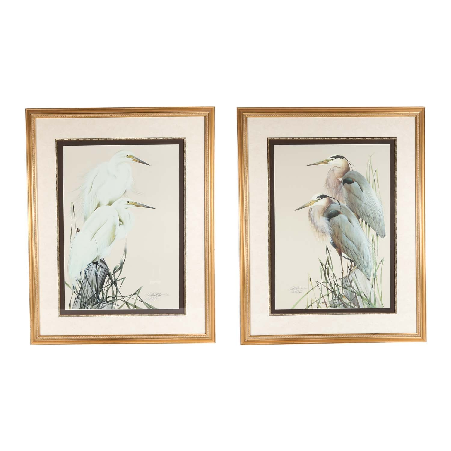 Pair of Signed Limited Edition Art LaMay Heron Offset Lithographs