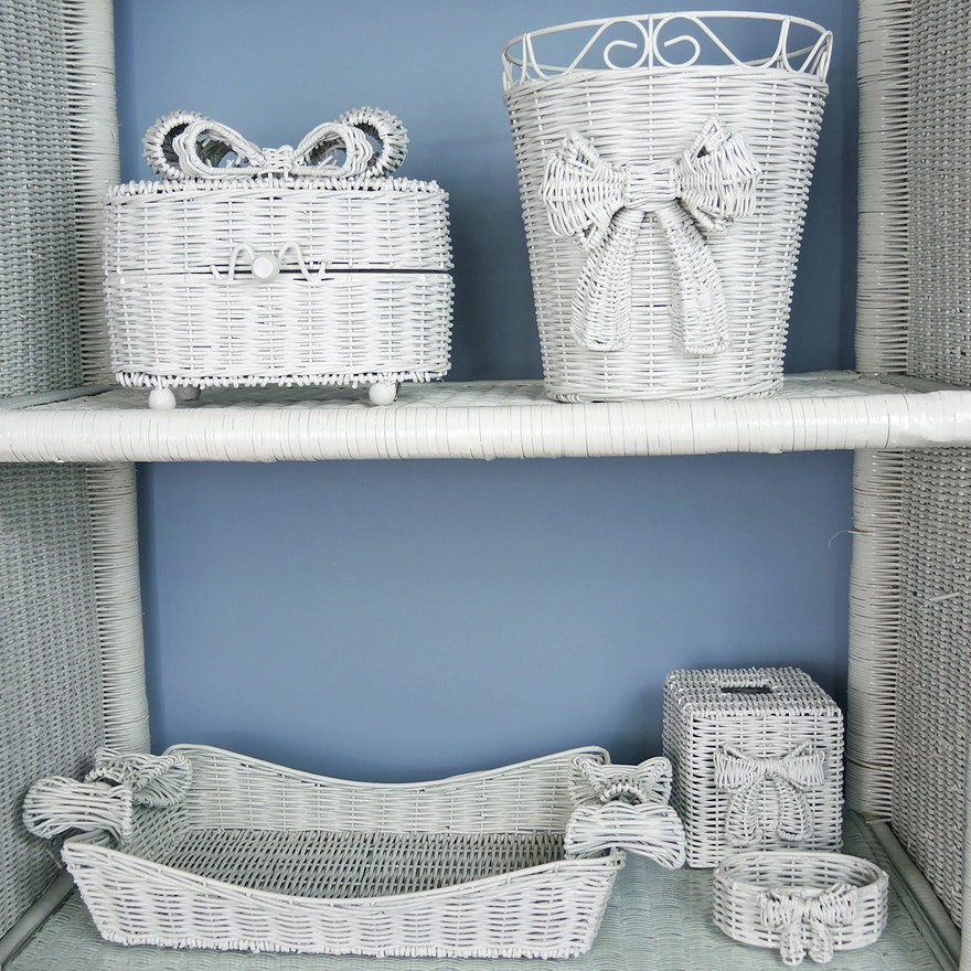 White Wicker Bathroom Accessories Set