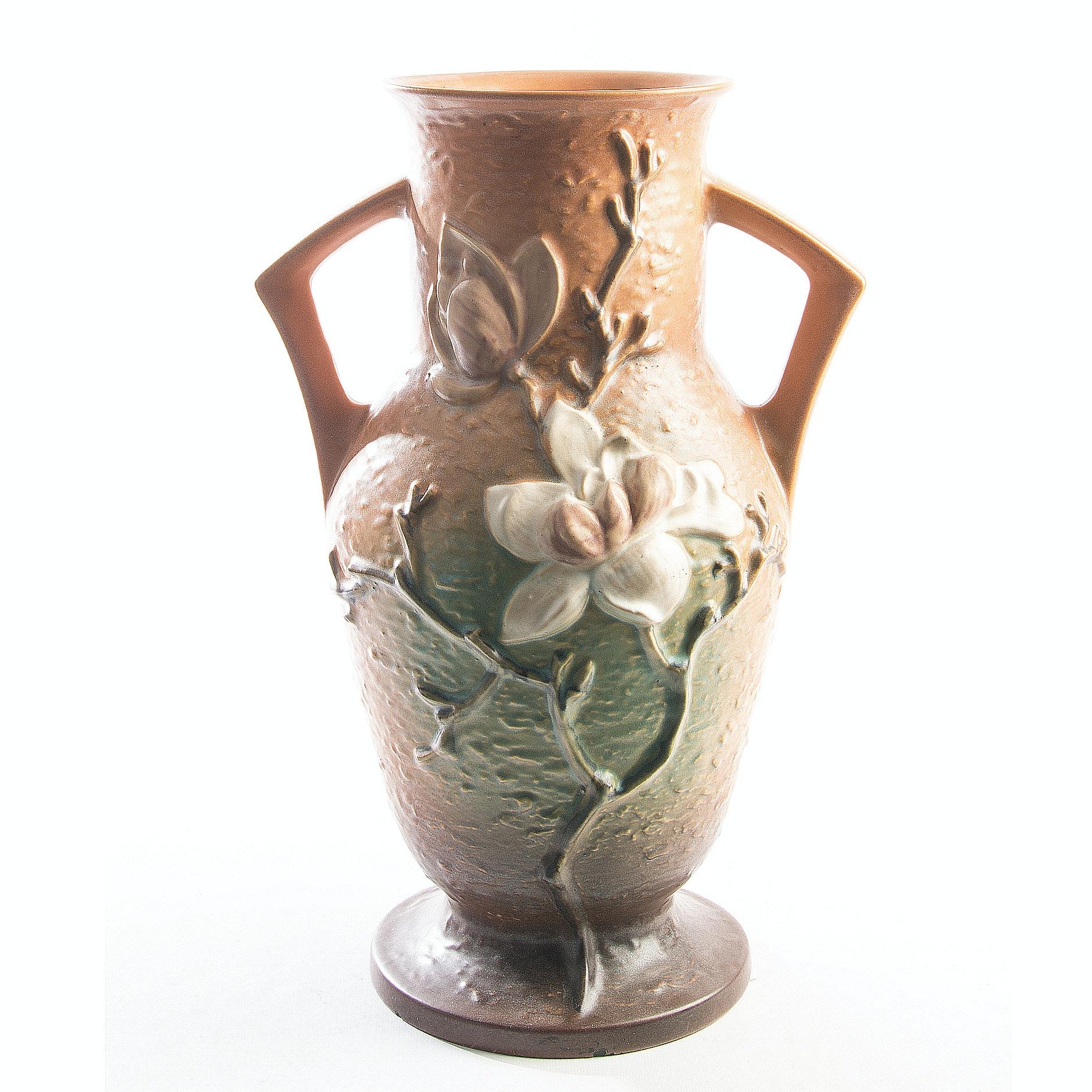 "Vintage Roseville Pottery ""Magnolia"" Double Handled Vase"