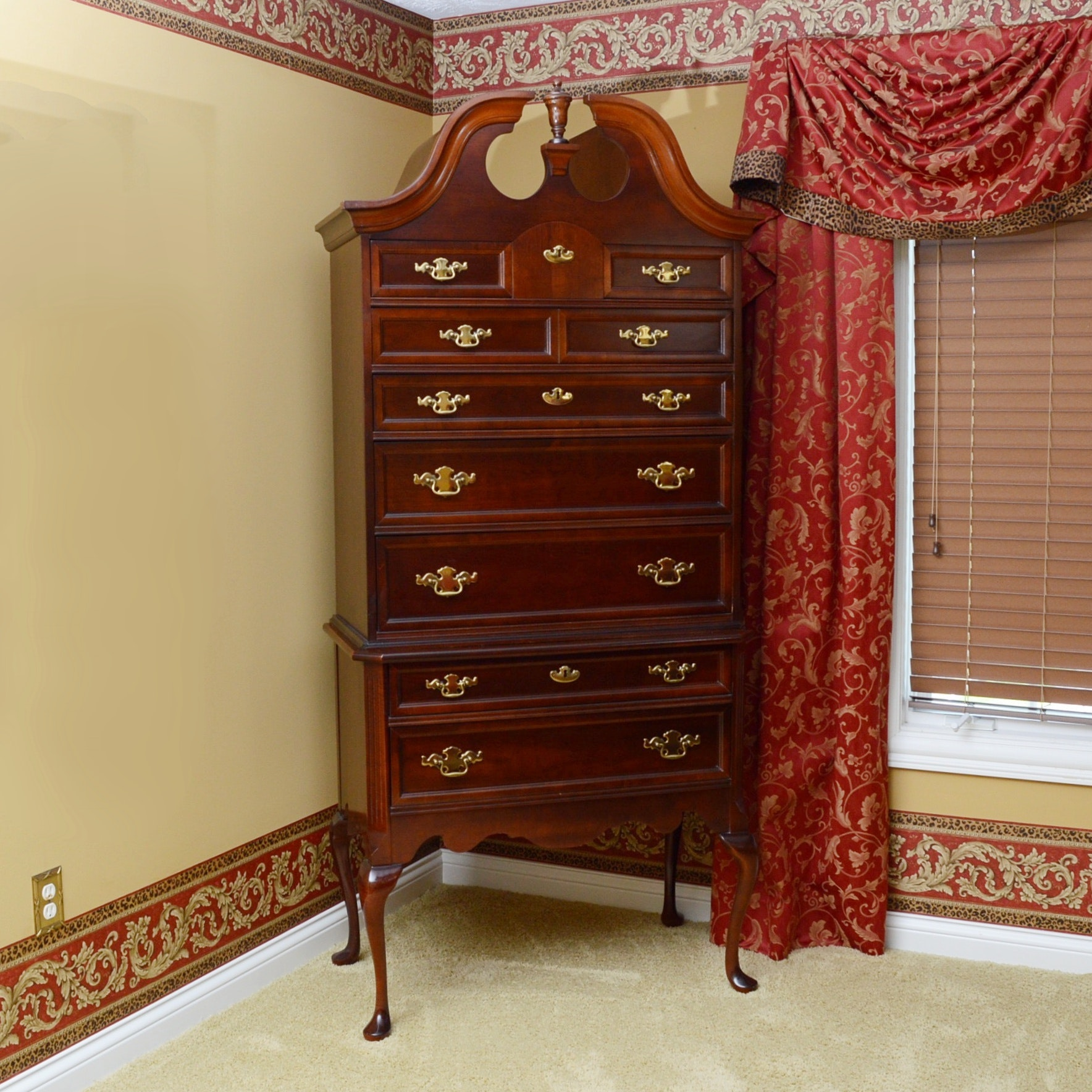 cherry highboy dresser by bassett furniture