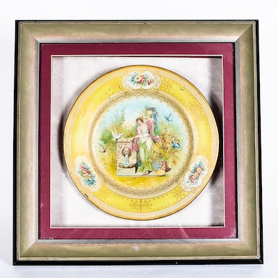 Antique Hand-Painted Porcelain Plate in a Display Frame