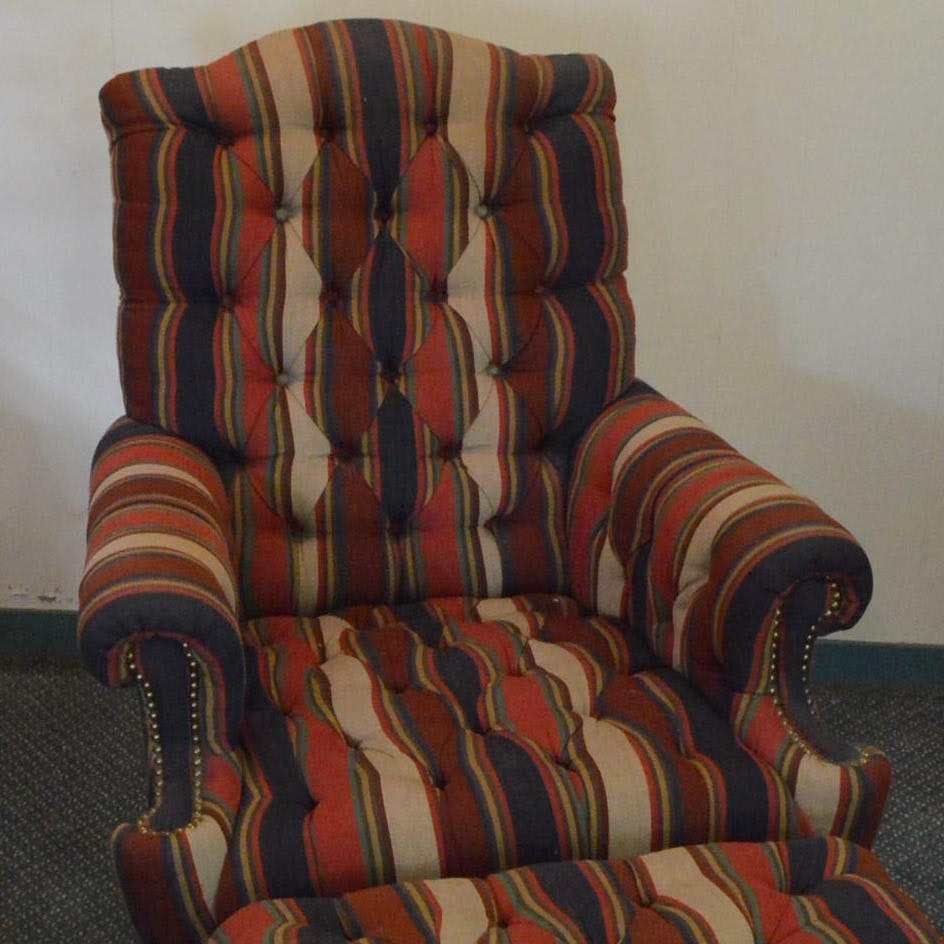 Upholstered Arm Chair with Ottoman