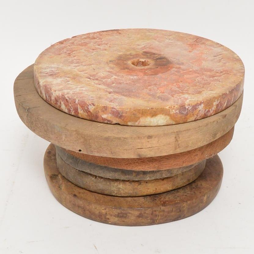 Vintage Stone Grinder Disc and Wood Wheels