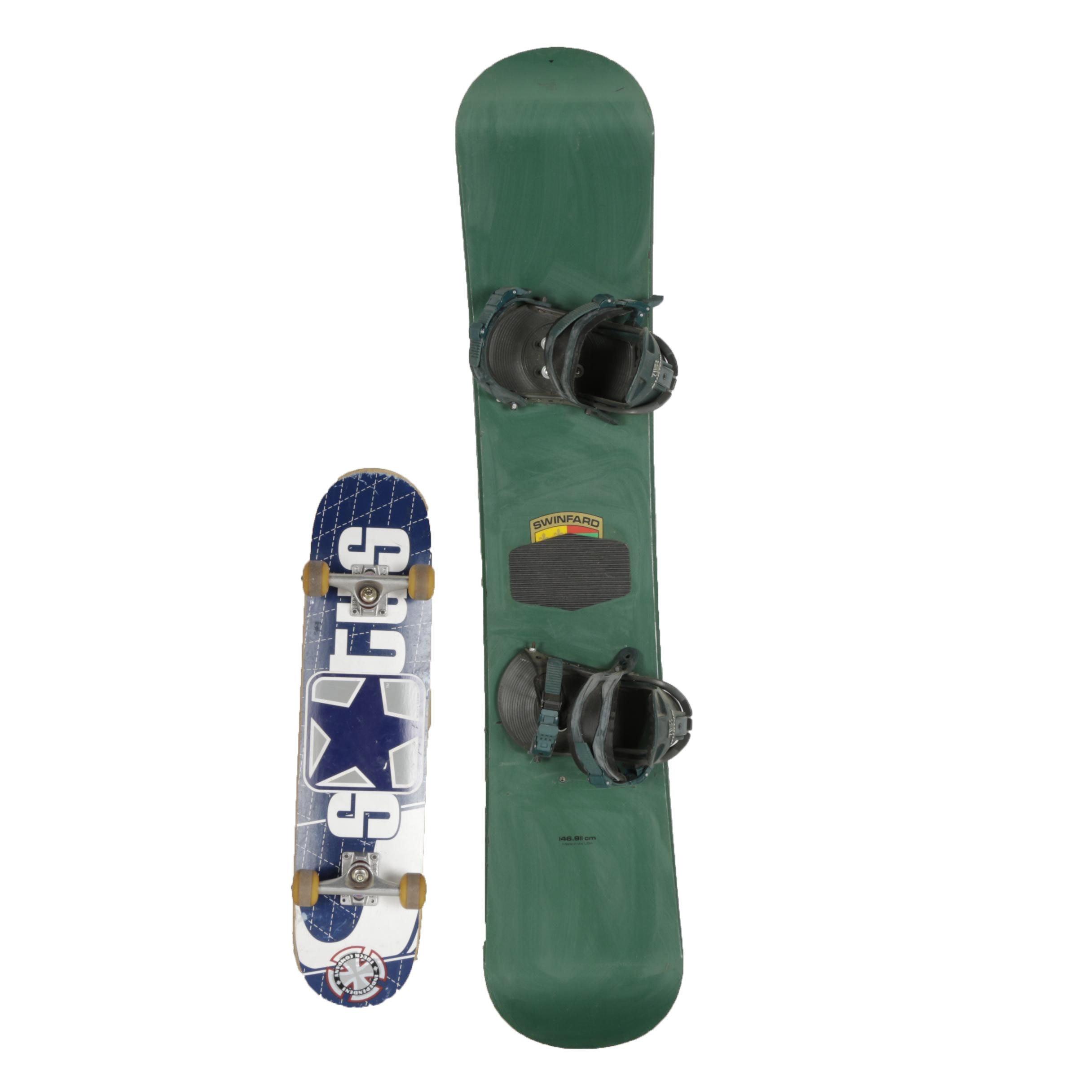 Evol Snowboard and Status Skateboard