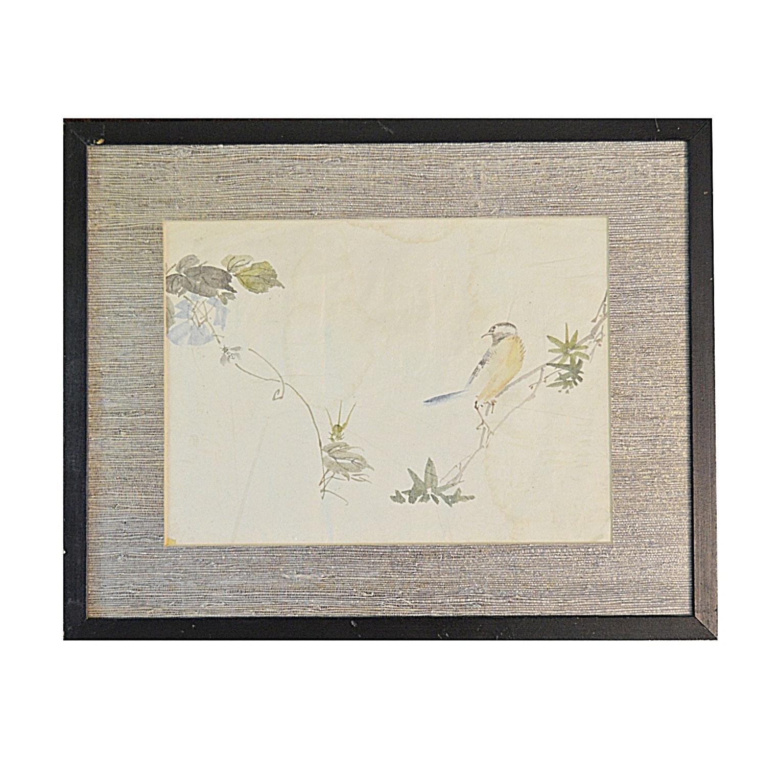 Original 19th Century Japanese Sumi-E Painting on Rice Paper