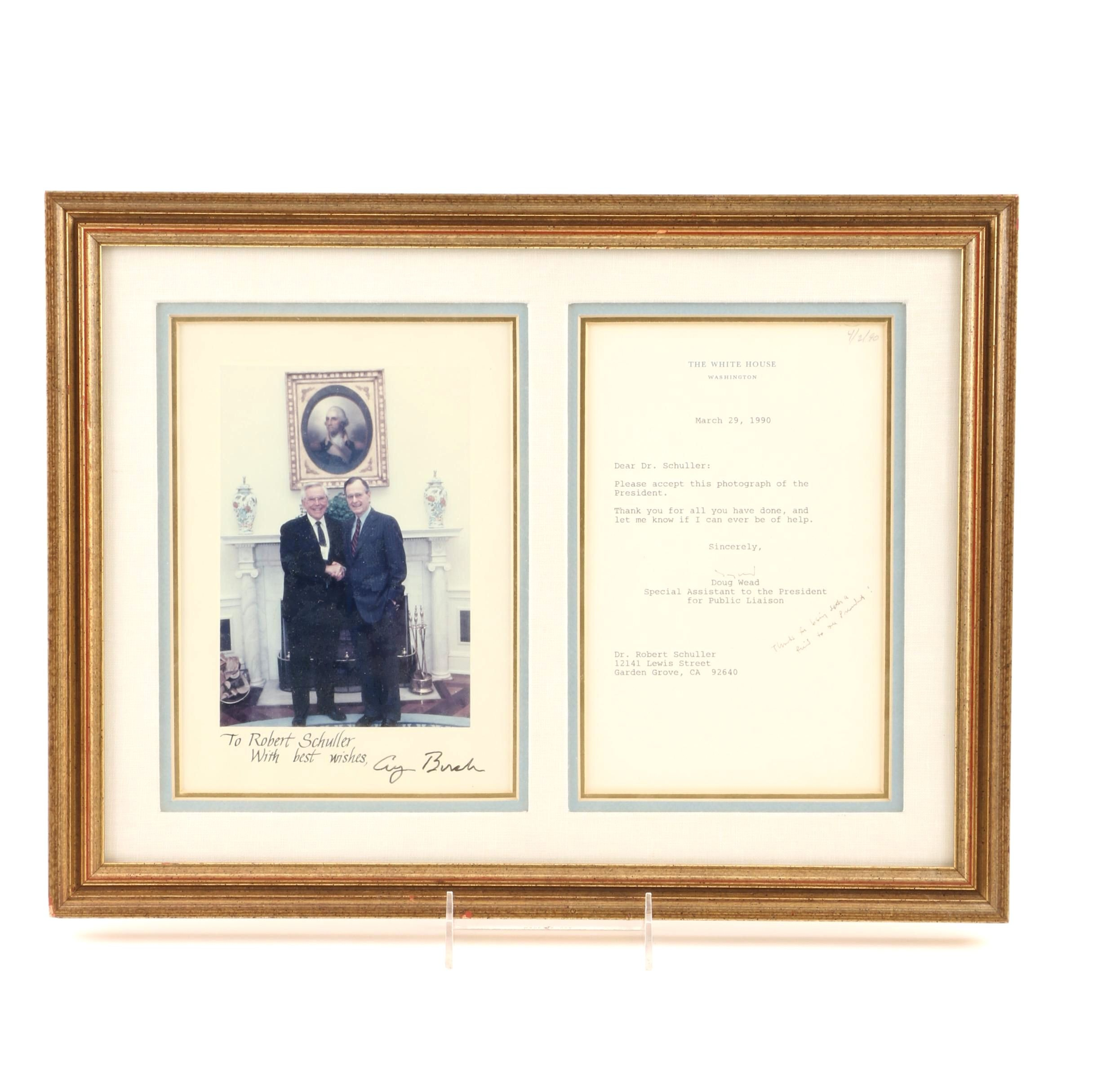 1990 Signed Colored Photograph of President George Bush