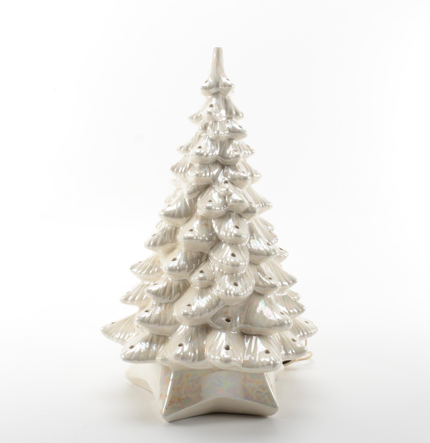 White ceramic christmas tree decor ebth for Christmas tree items list