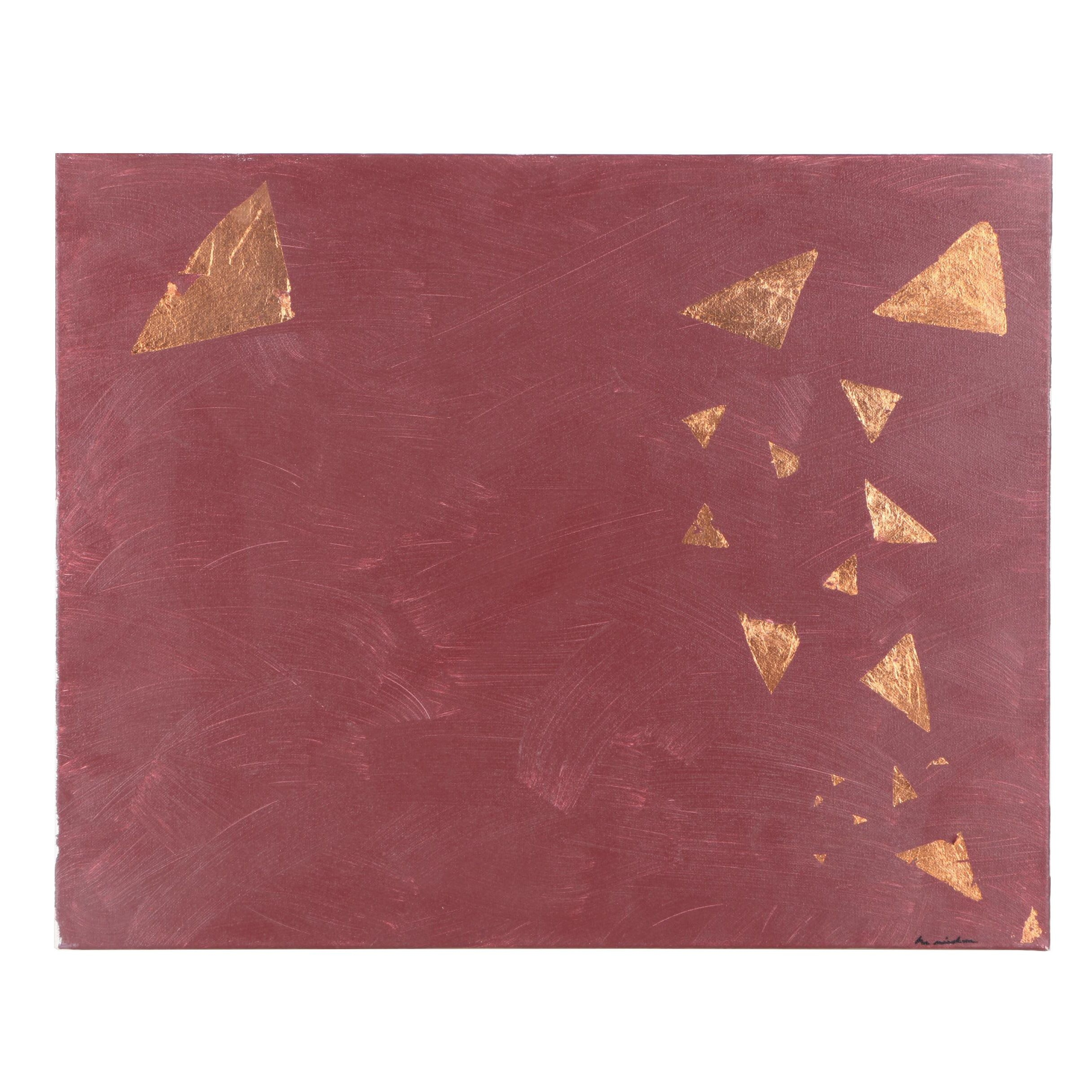 Abstract Mixed Media Painting With Gold Foil on Canvas