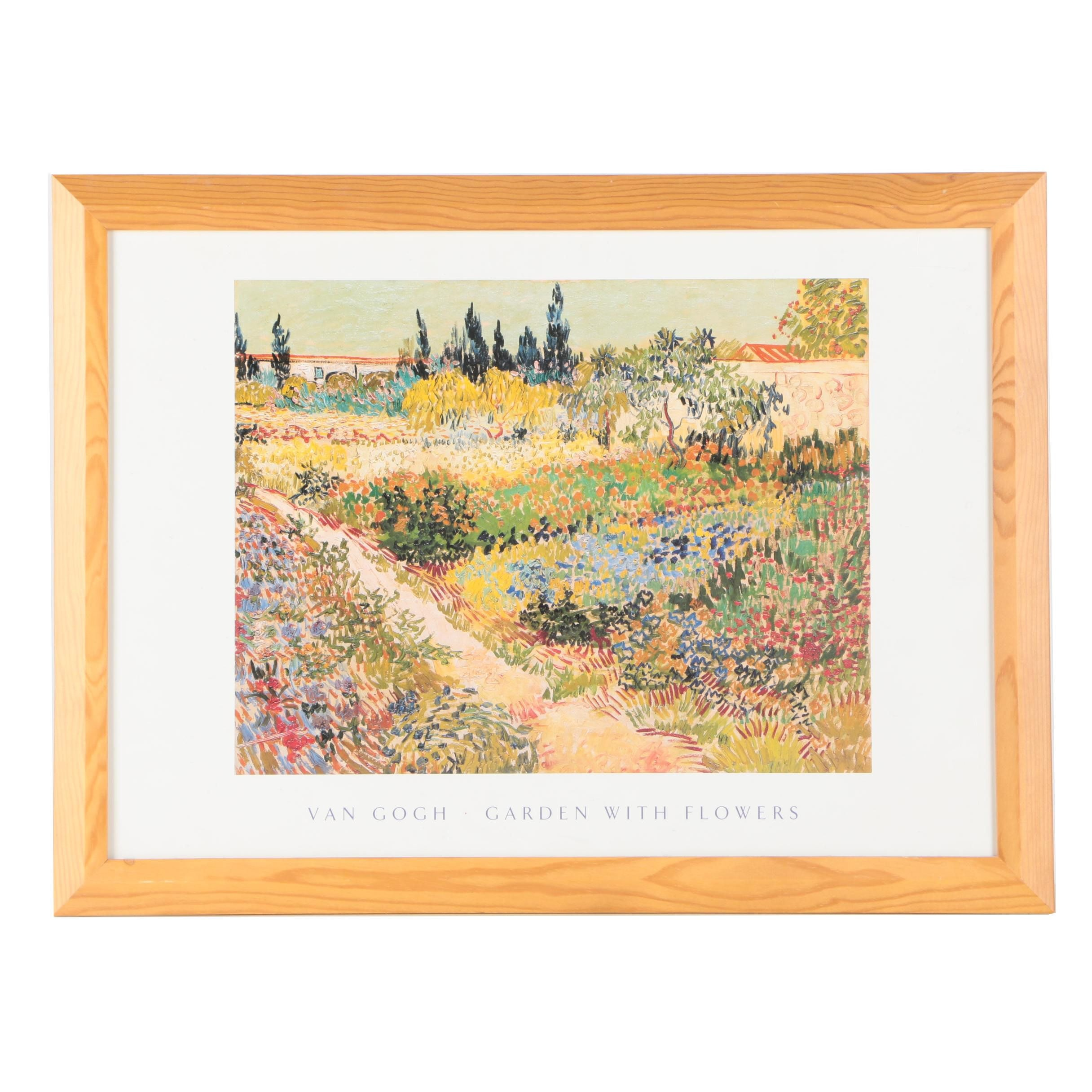 "Offset Lithograph Poster After Vincent Van Gogh ""Garden With Flowers"""