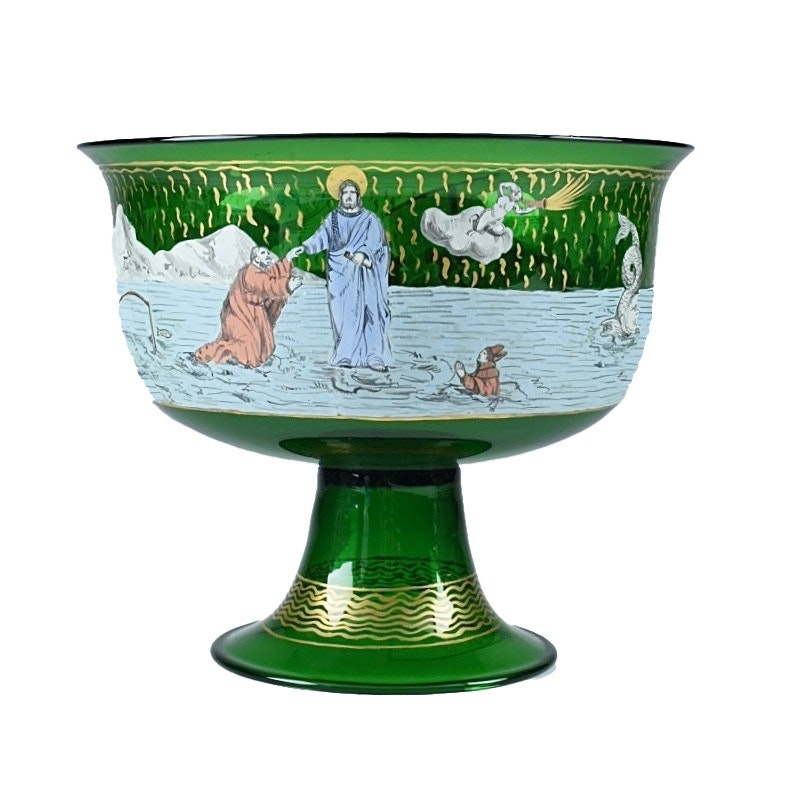 Murano Glass Compote with Painted Scene of Jesus Walking on Water