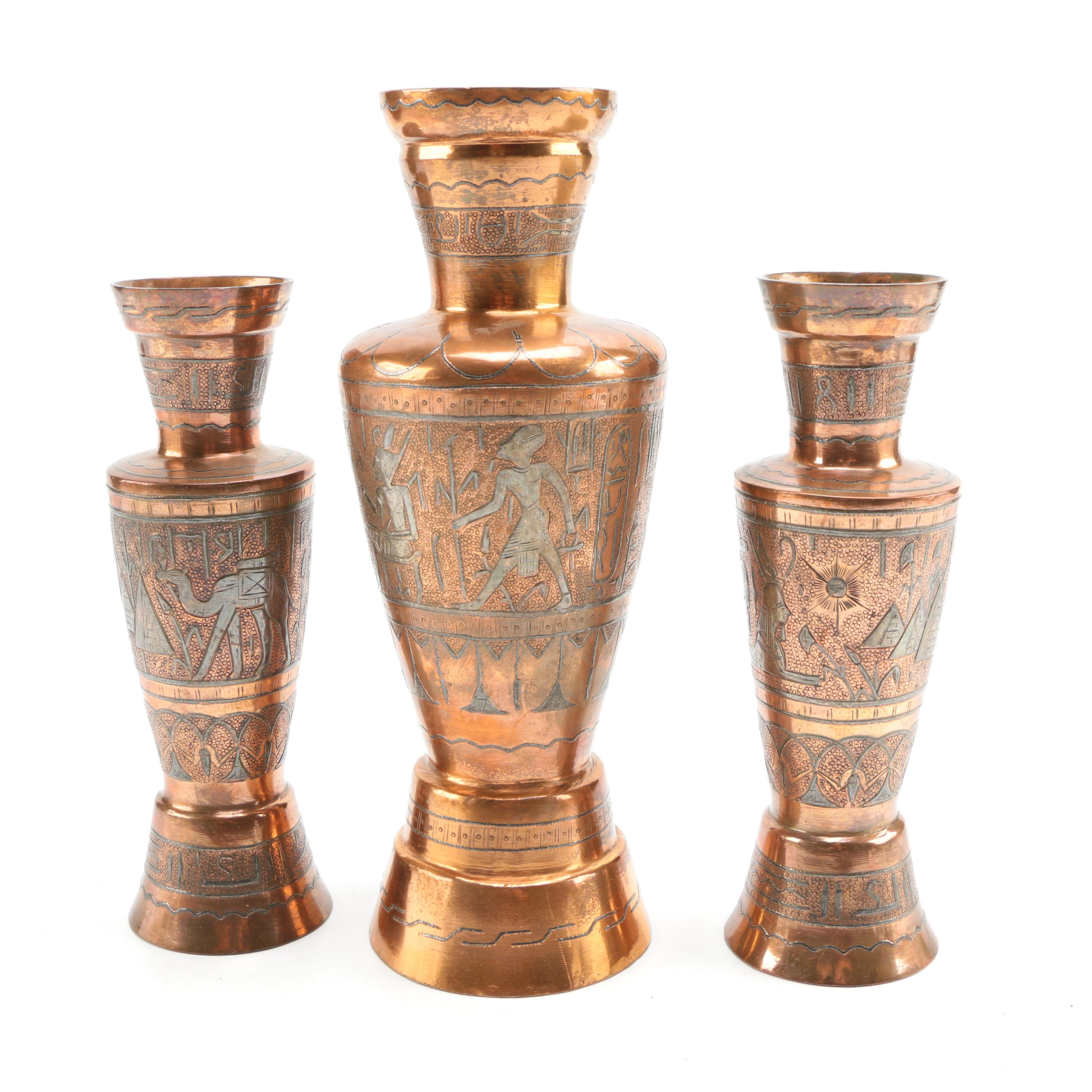 Egyptian-Inspired Copper Plated Garniture Set
