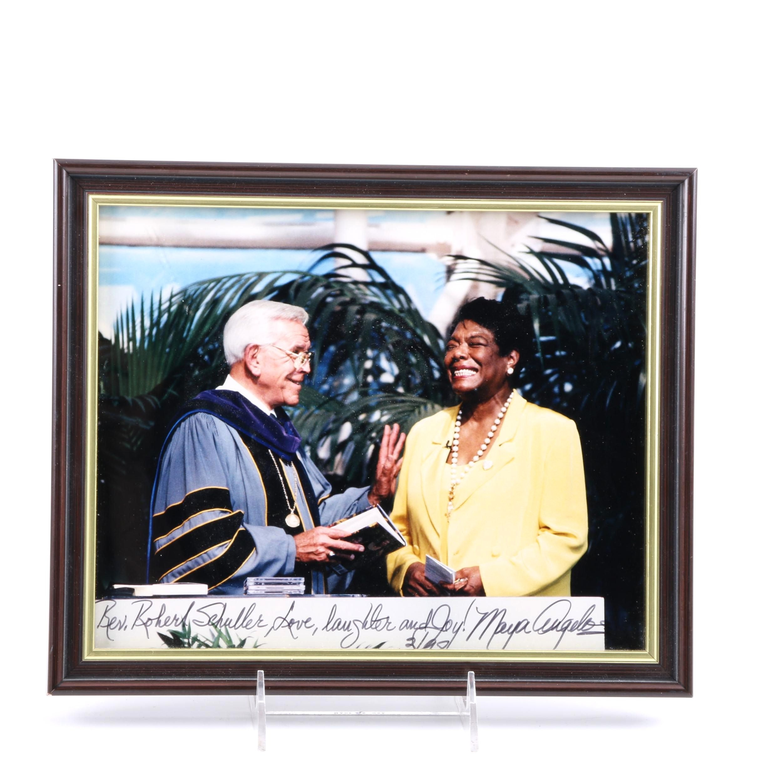 Signed 1998 Colored Photograph of Maya Angelou