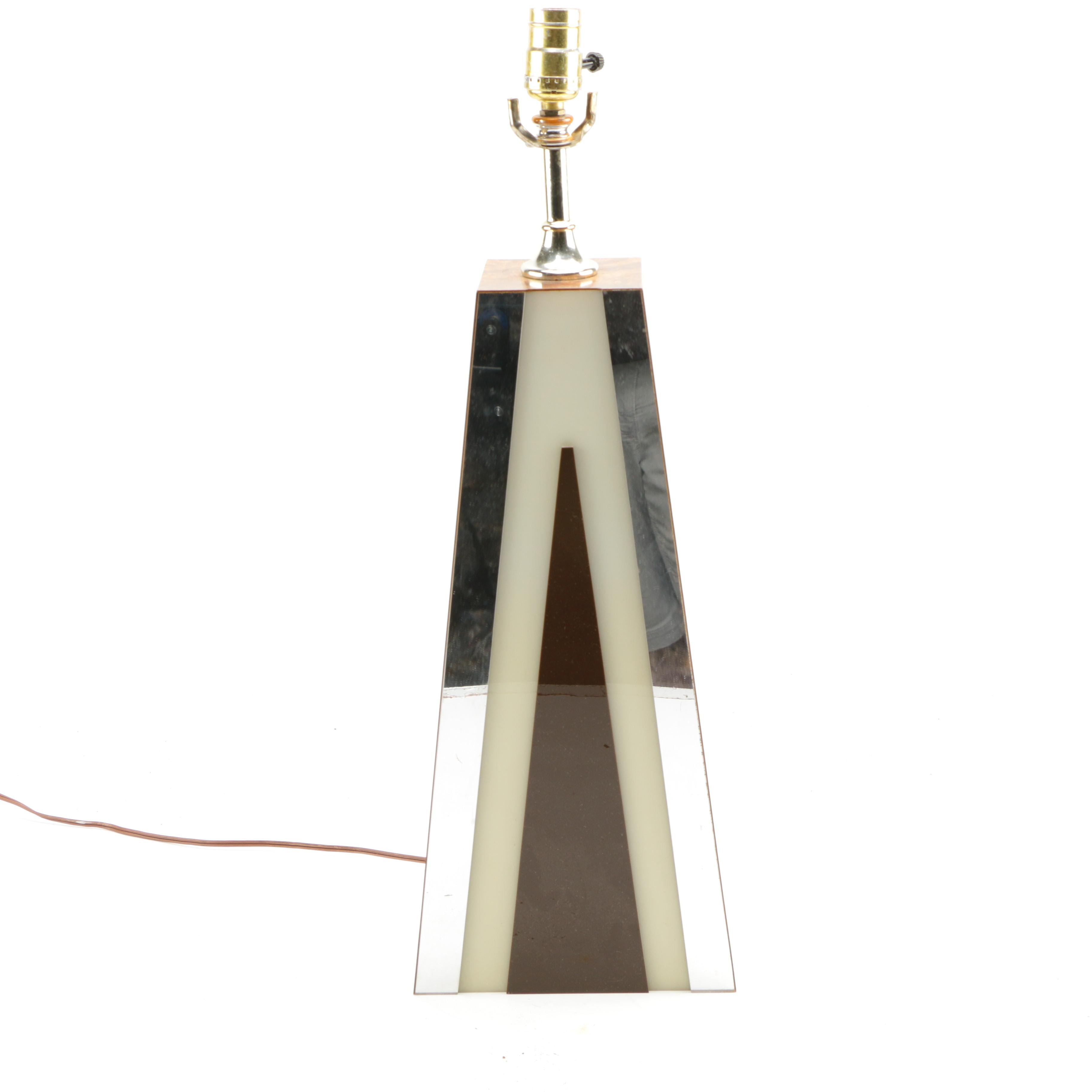 Mid Century Modern Chrome and Wood Table Lamp