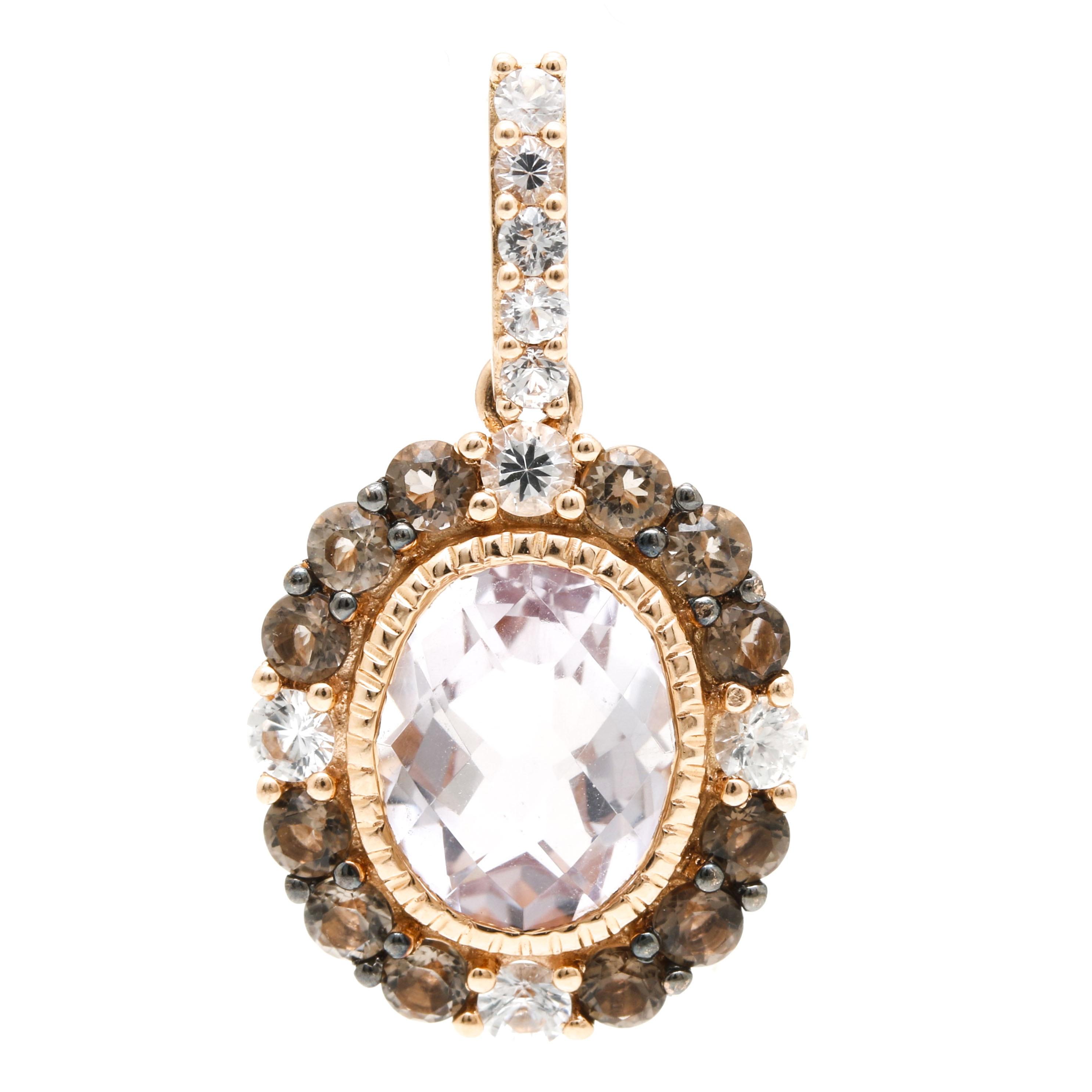Le Vian 14K Rose Gold Amethyst, Smoky Quartz, and White Sapphire Pendant