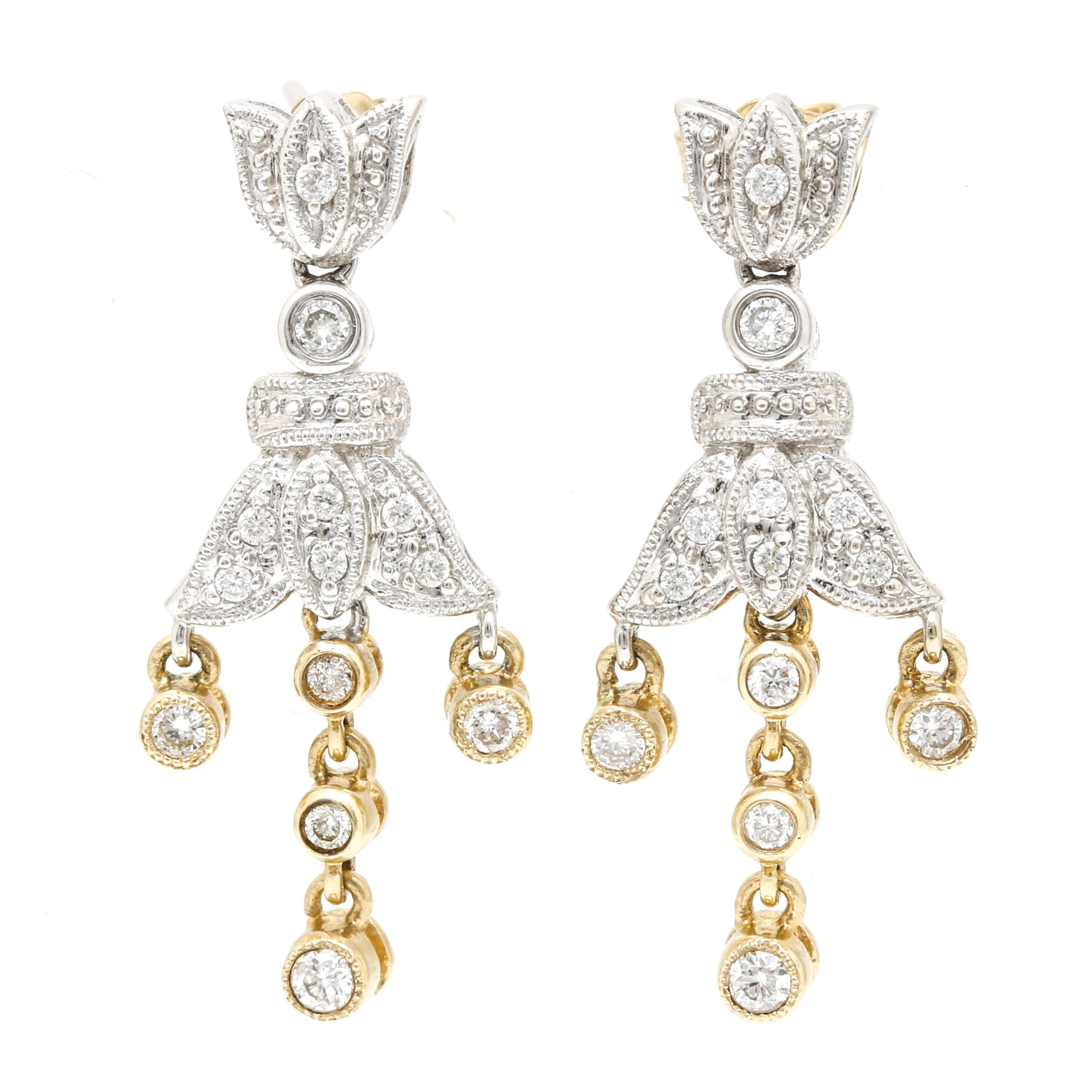 14K Mixed Gold Diamond Dangle Earrings