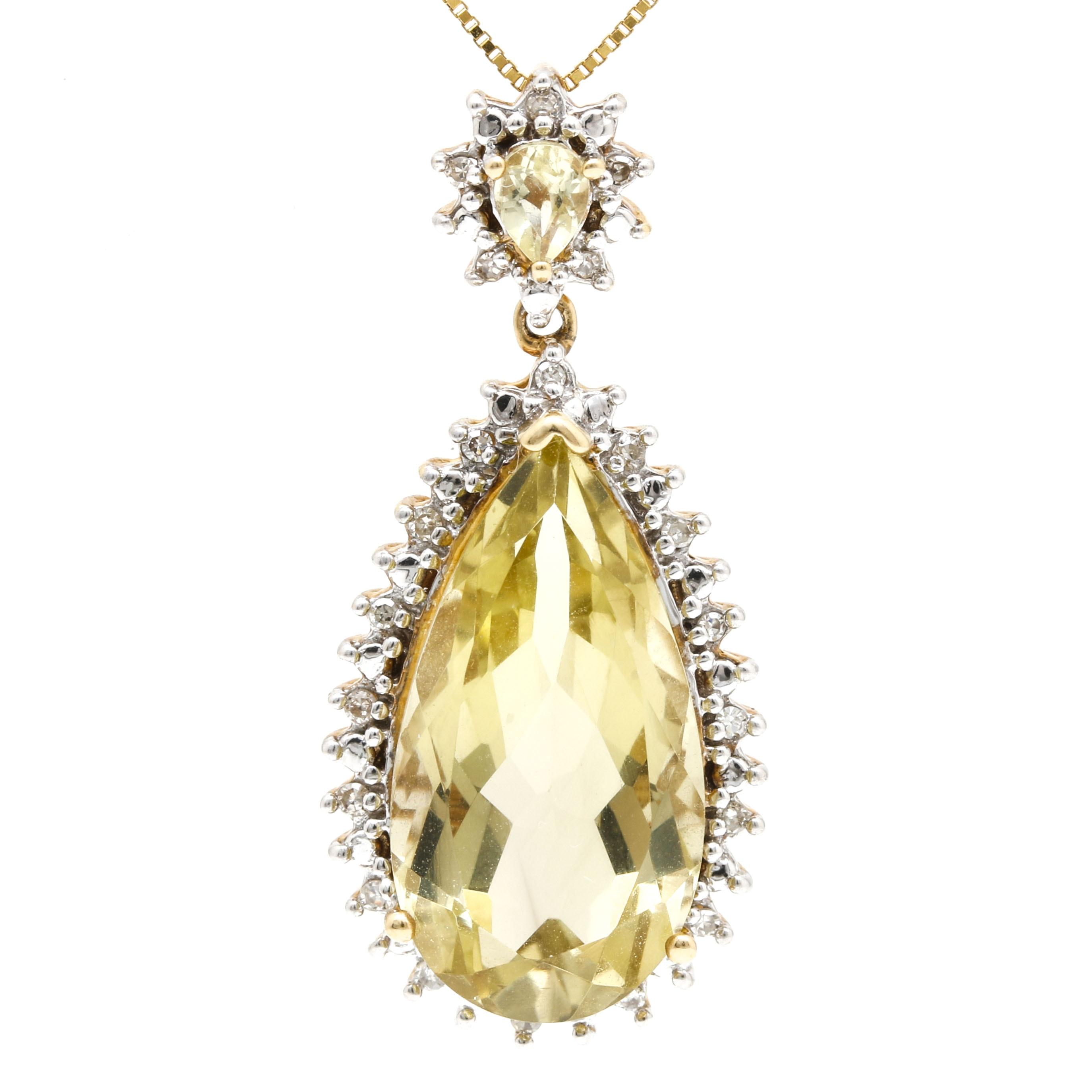 Clyde Duneier 14K Yellow Gold Lime Quartz and Diamond Pendant Necklace