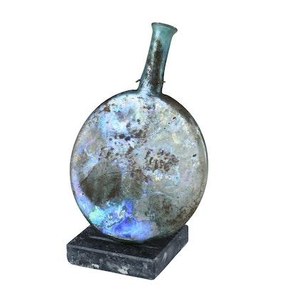 Roman Glass Flask Accompanied by Certificate From Tel Aviv Hilton