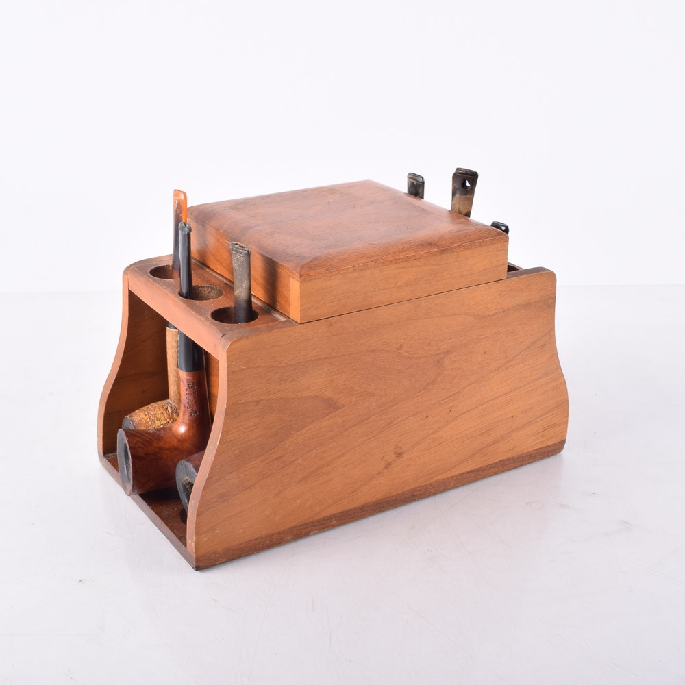 Wooden Pipe Stand and Assorted Pipes