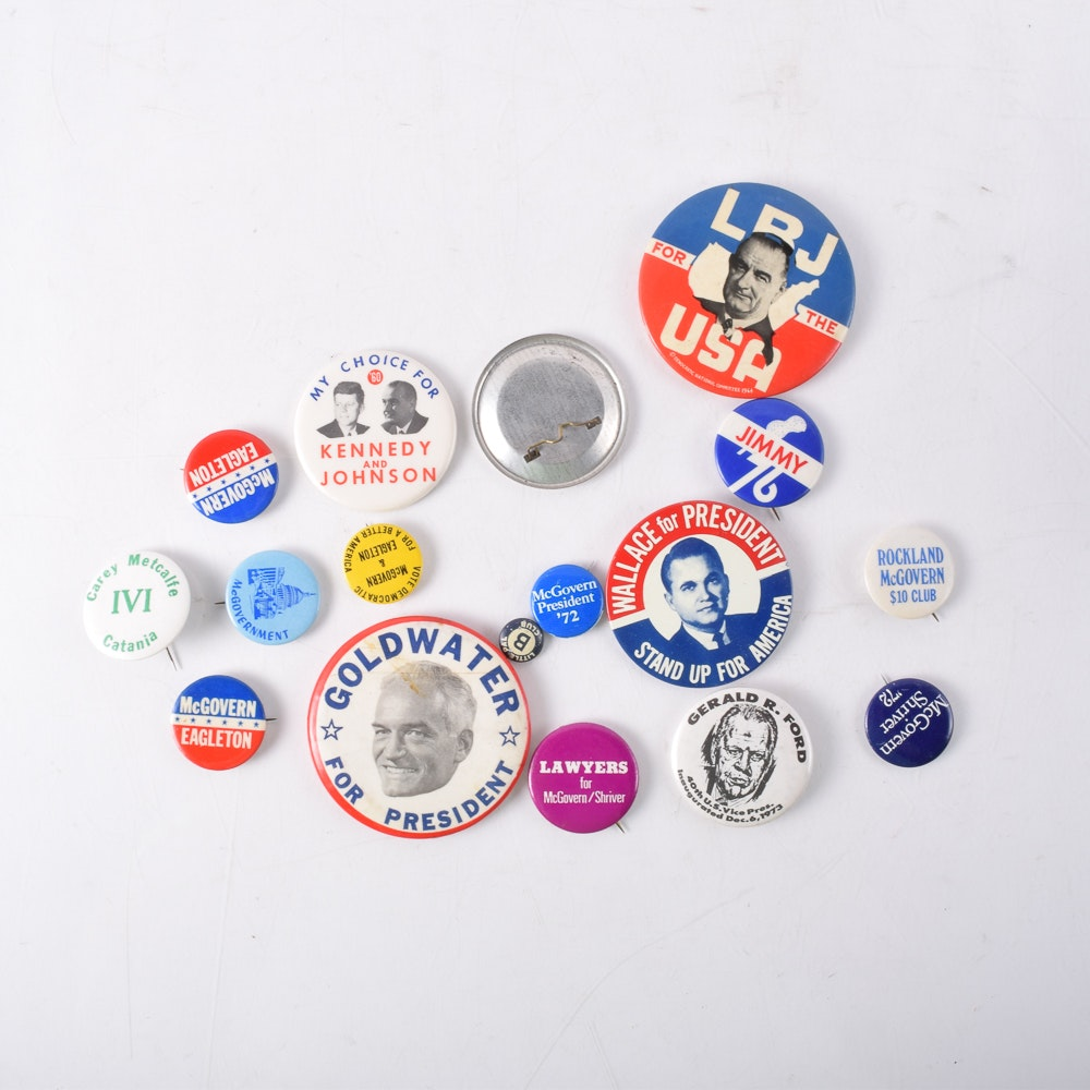 Collection of Vintage Political Buttons