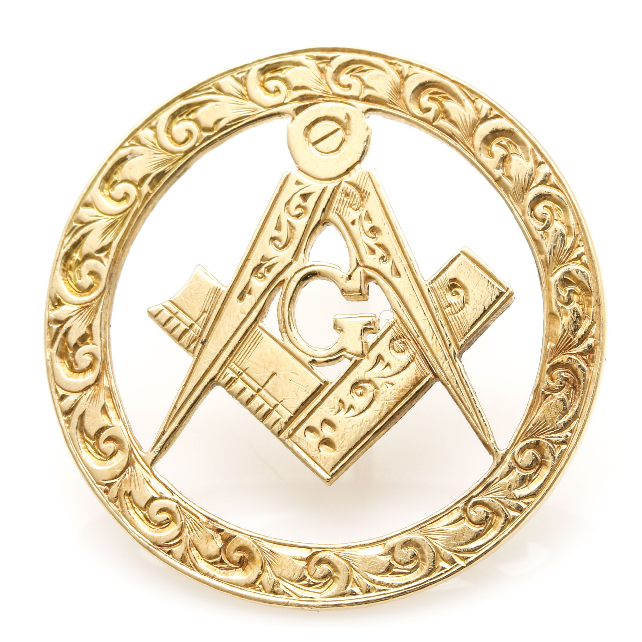 18K Yellow Gold Hand Engraved Freemasonry Lapel Pin