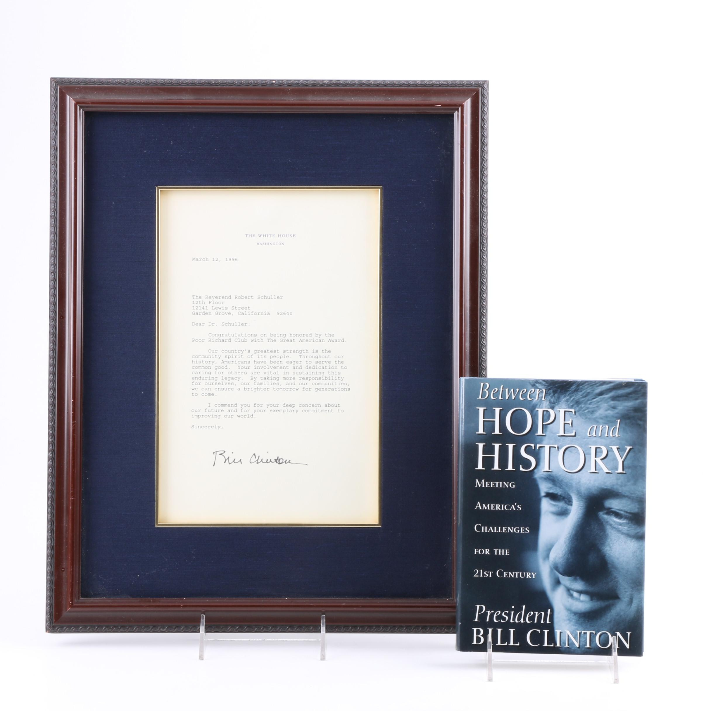 """Signed Letter and """"Between Hope and History"""" by Bill Clinton"""