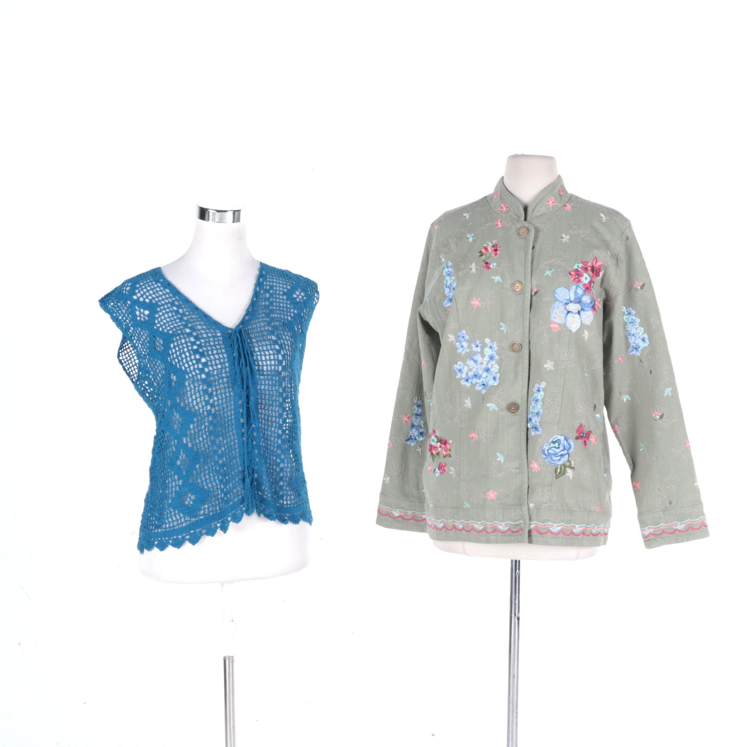 "Women""s Knit Vest and Denim & Co. Floral Jacket"