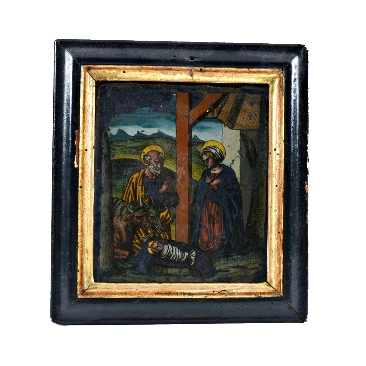 19th-Century Reverse Painted Glass Nativity Scene