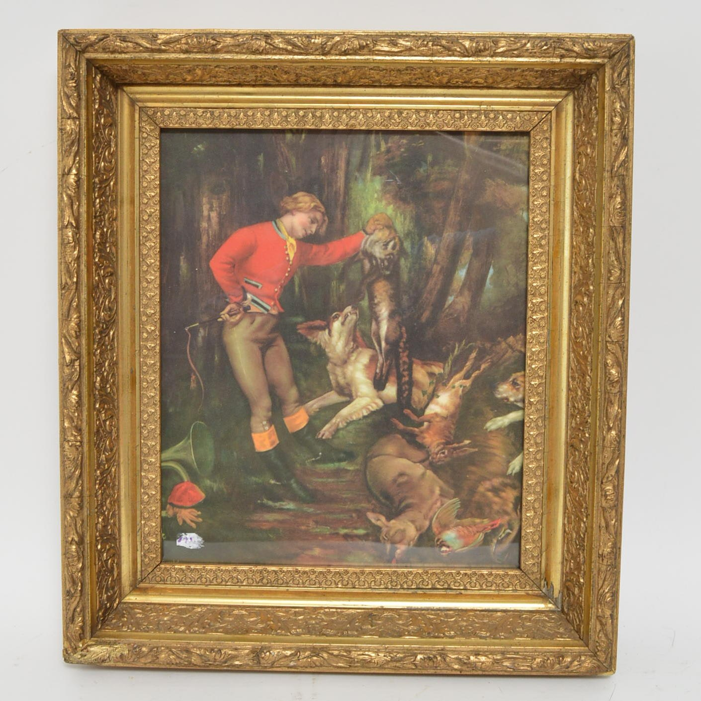 """Vintage Offset LIthograph After Courbet's """"After the Hunt"""""""