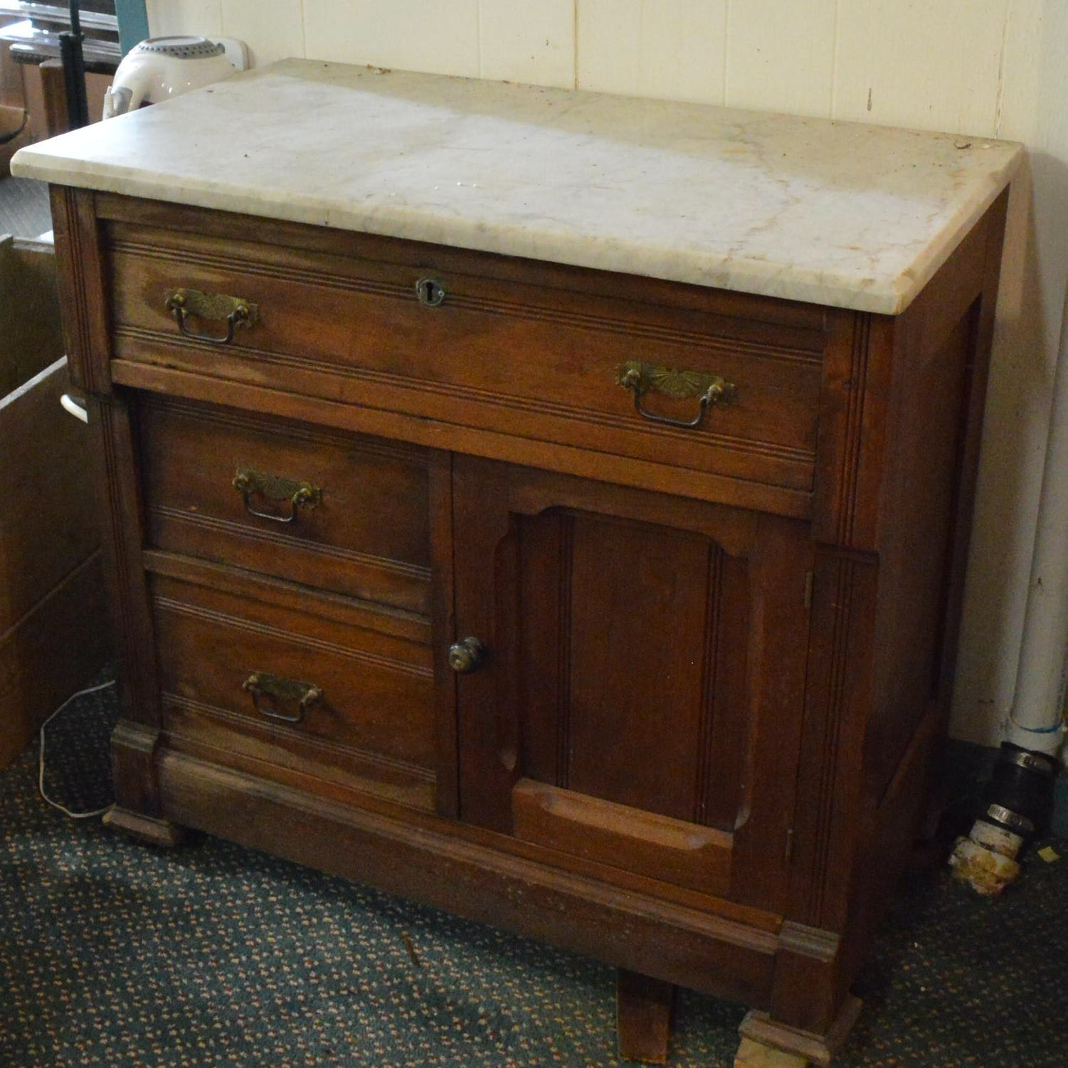 Eastlake Marble Topped Washstand