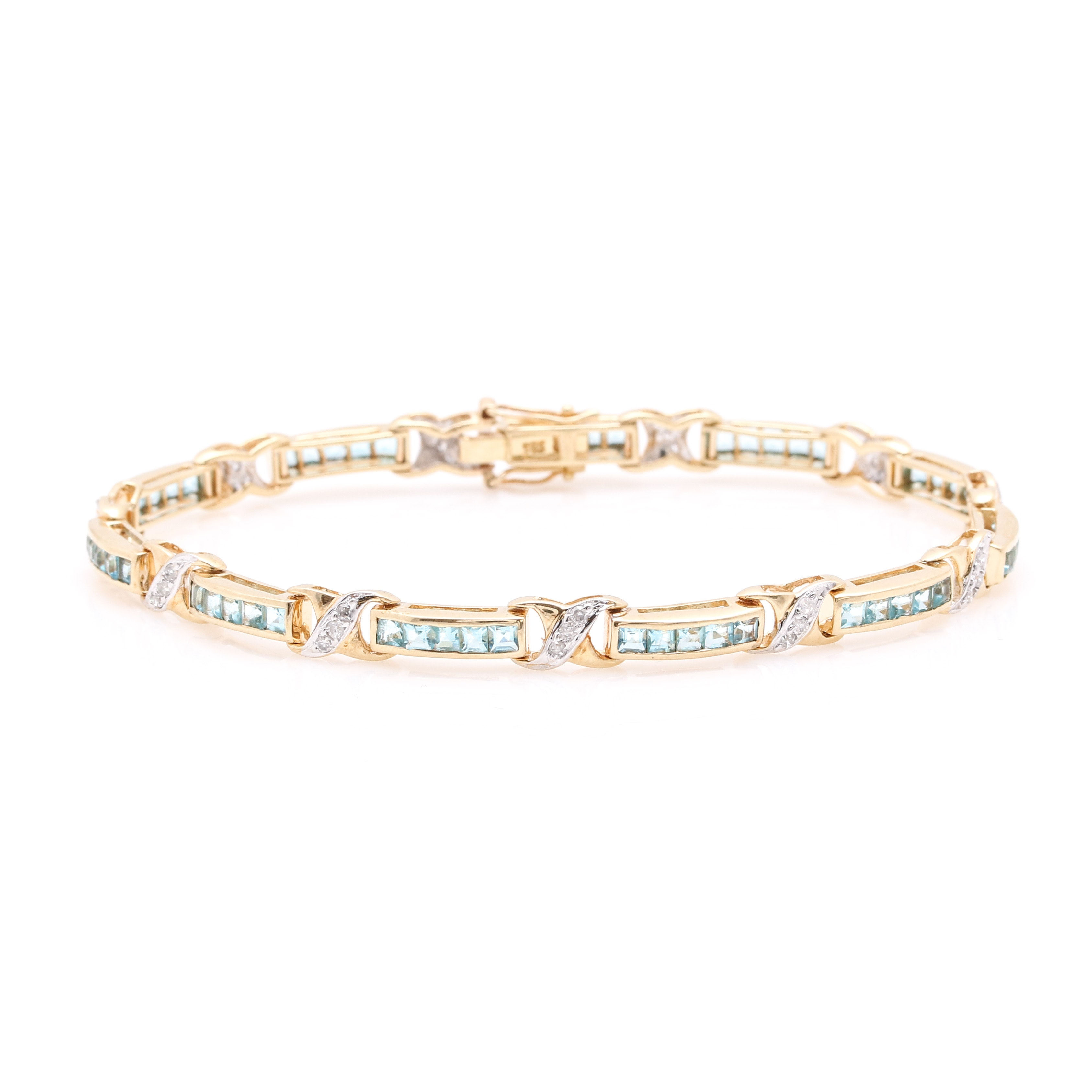 14K Yellow Gold Diamond and Glass Tennis Bracelet