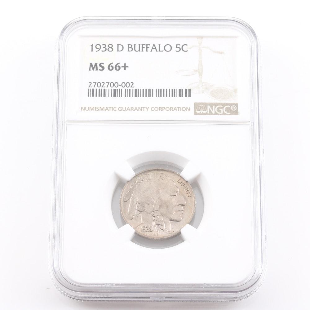 Graded MS 66 + (By NGC) 1938 D Buffalo Nickel