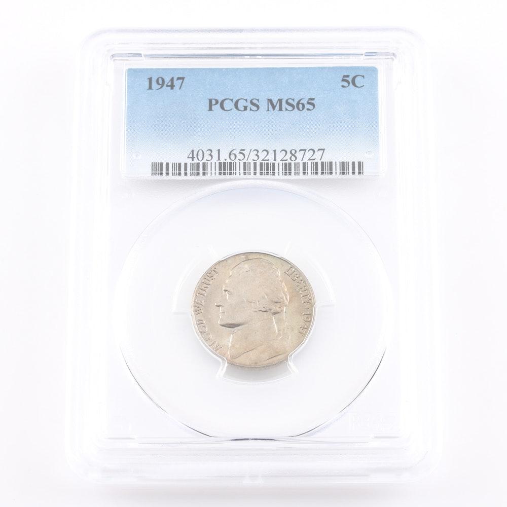 Graded MS 65 (By PCGS) 1947 Jefferson Nickel