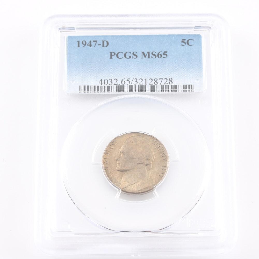 Graded MS 65 (By PCGS) 1947 D Jefferson Nickel
