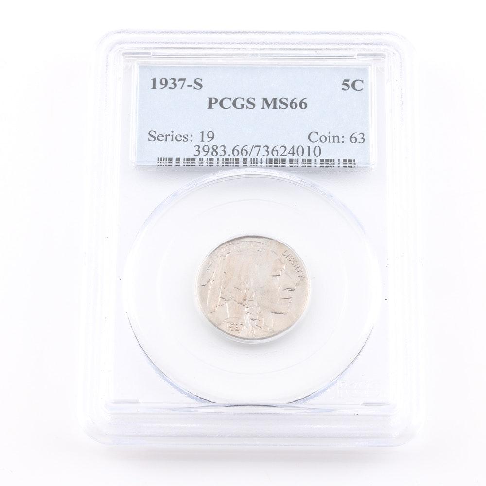 Graded MS 66 (By PCGS) 1937 S Buffalo Nickel