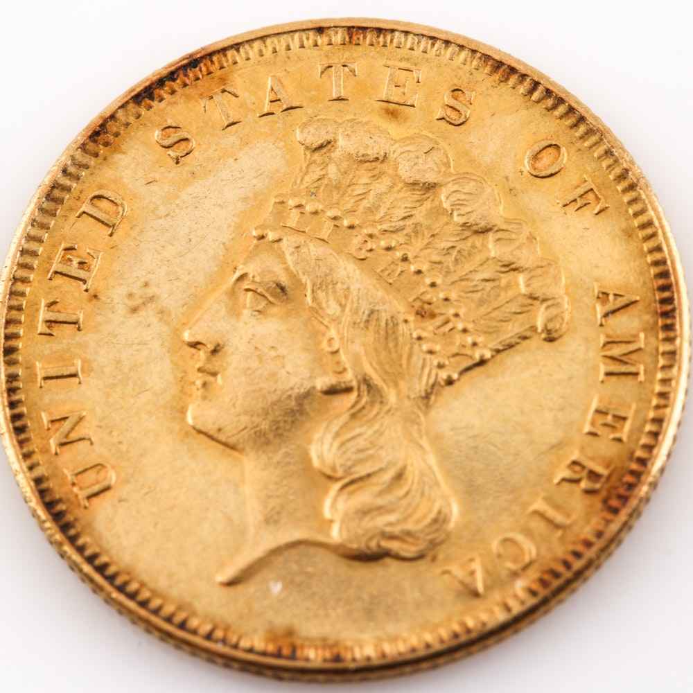 1855 Indian Head Princess $3 Gold Coin