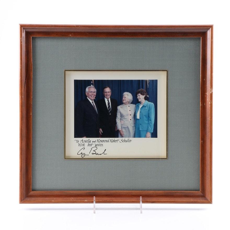 Framed Photo V.P. George Bush, Mrs. Bush and Rev. and Ms Schuller