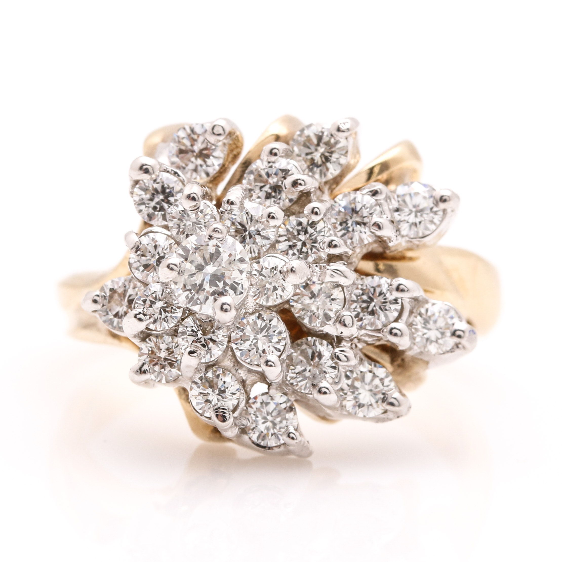 14K Two Tone Gold 1.08 CTW Diamond Ring