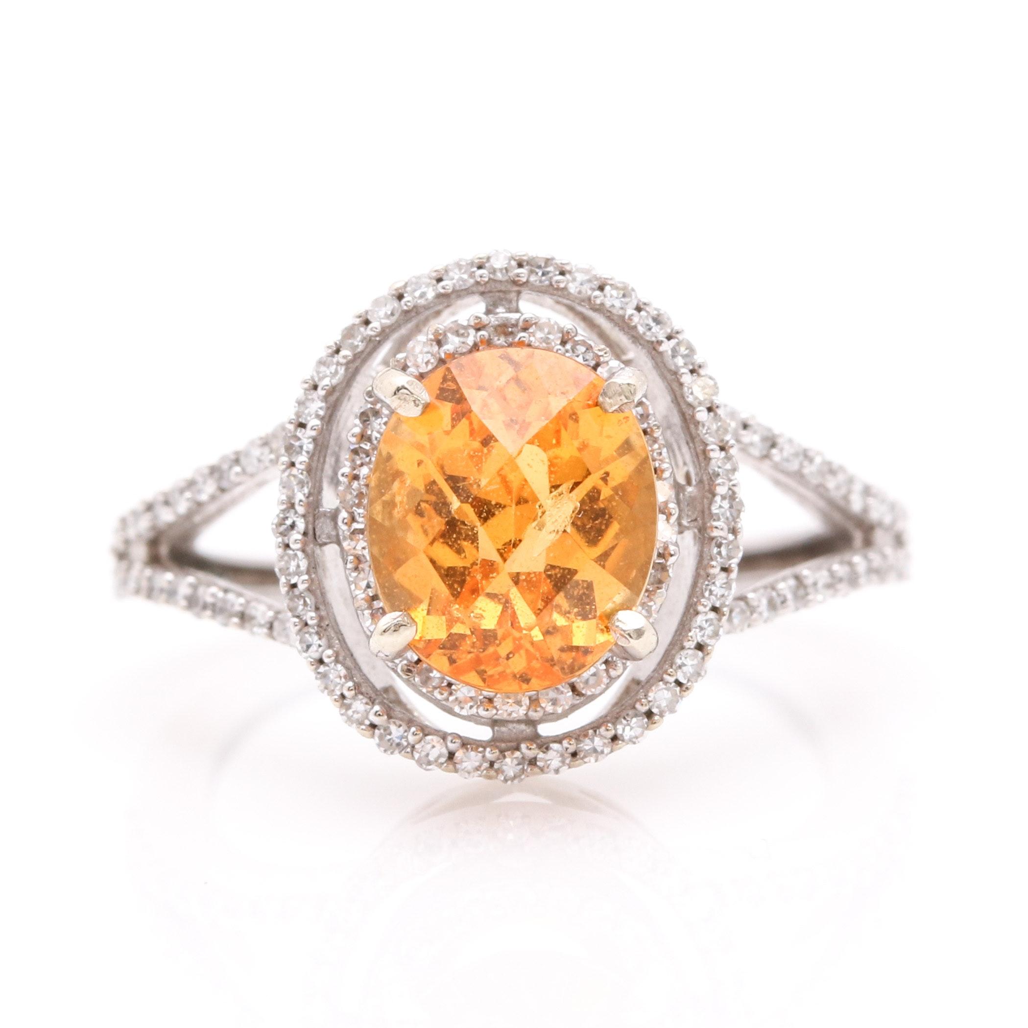 14K White Gold Diamond and Spessartine Garnet Gemstone Ring