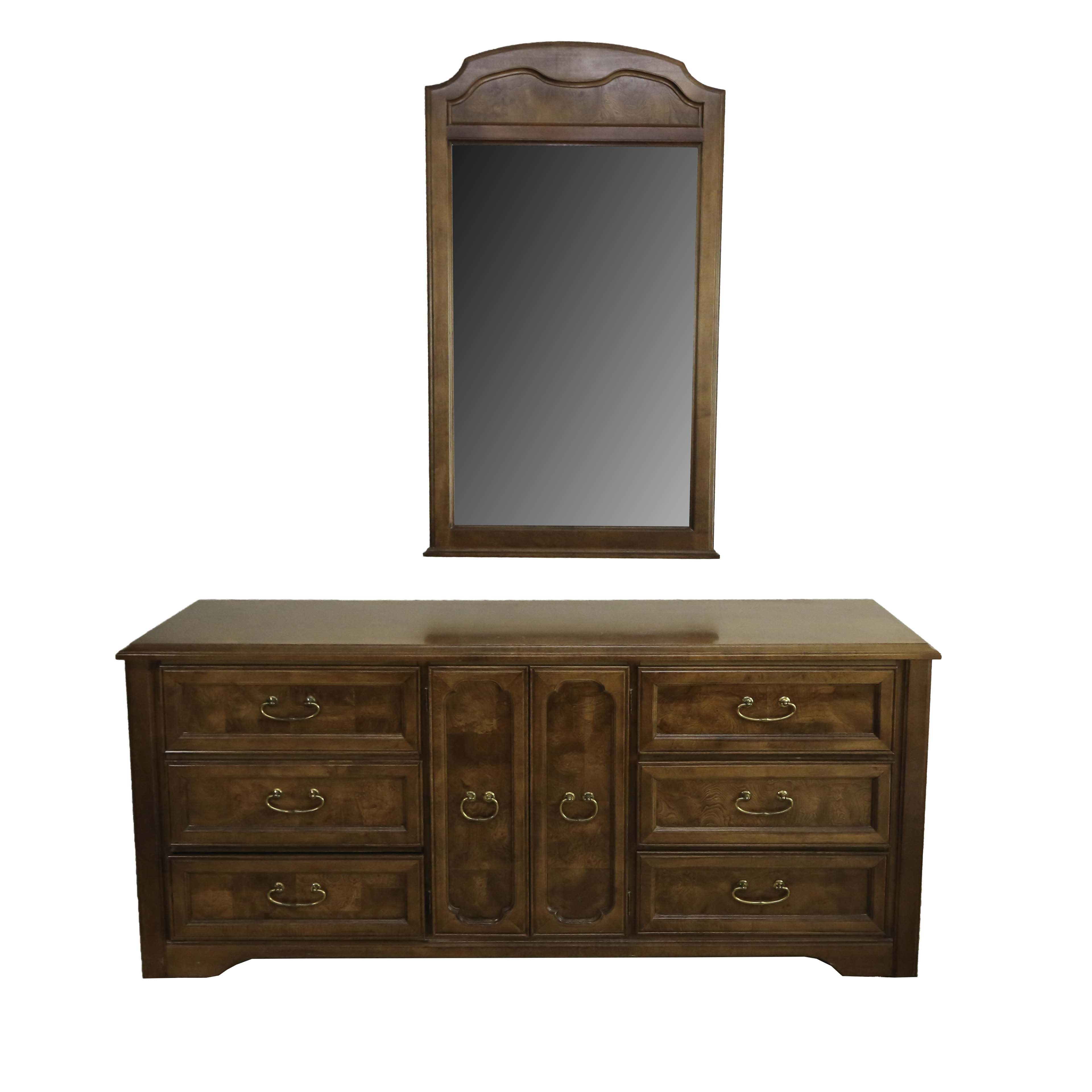 Burl Accent Chest of Drawers with Mirror