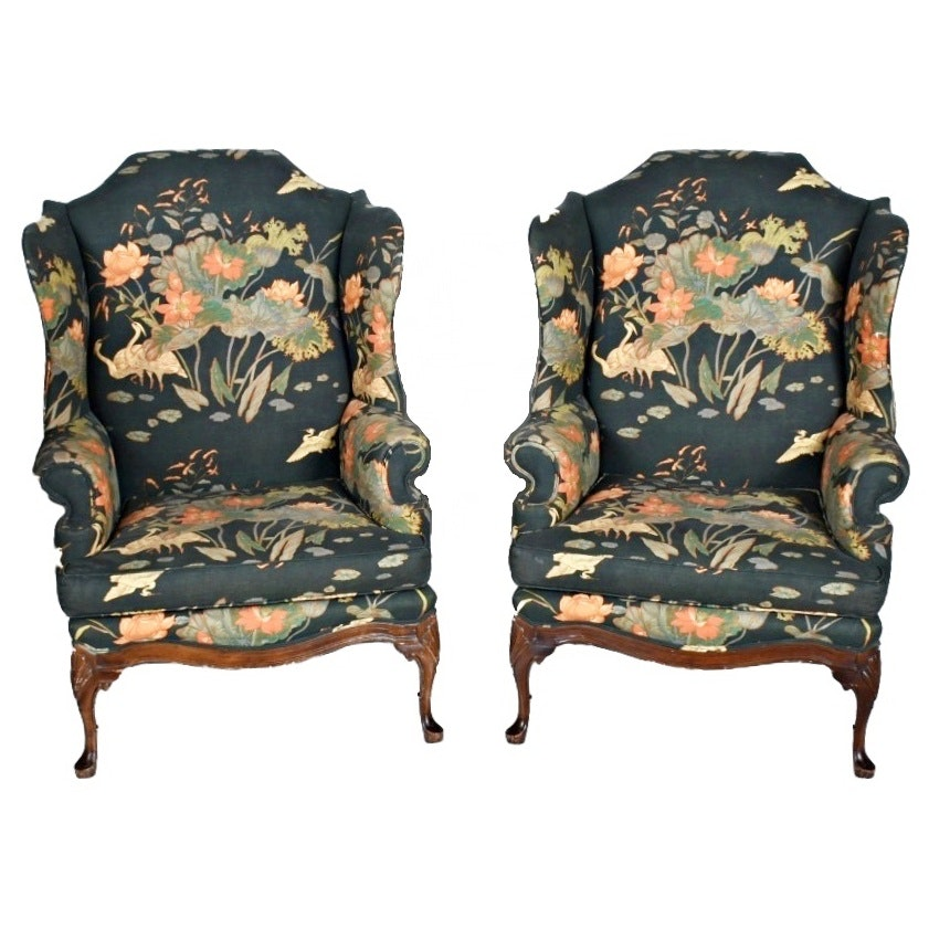 Vintage Style Chairs: Vintage Queen Anne Style Floral-Upholstered Wing Chairs : EBTH