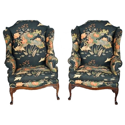 Vintage Queen Anne Style Floral-Upholstered Wing Chairs
