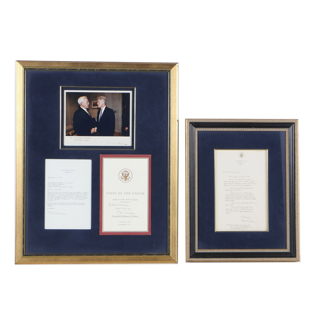 1997 Framed Letters and Photos of Pres. Clinton and Dr. Schuller