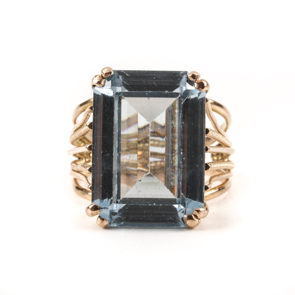 14K Rose Gold Ring with Emerald Cut Synthetic Spinel