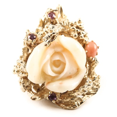 14K Yellow Gold Organic Form Ring with Carved Coral Rose