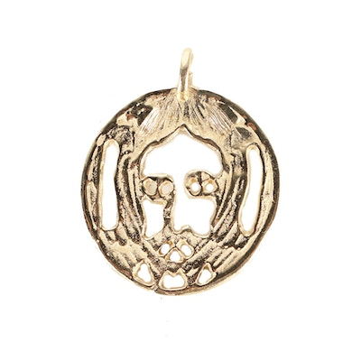 Evel Knievel Gifted 14K Yellow Gold Pendant of Jesus A
