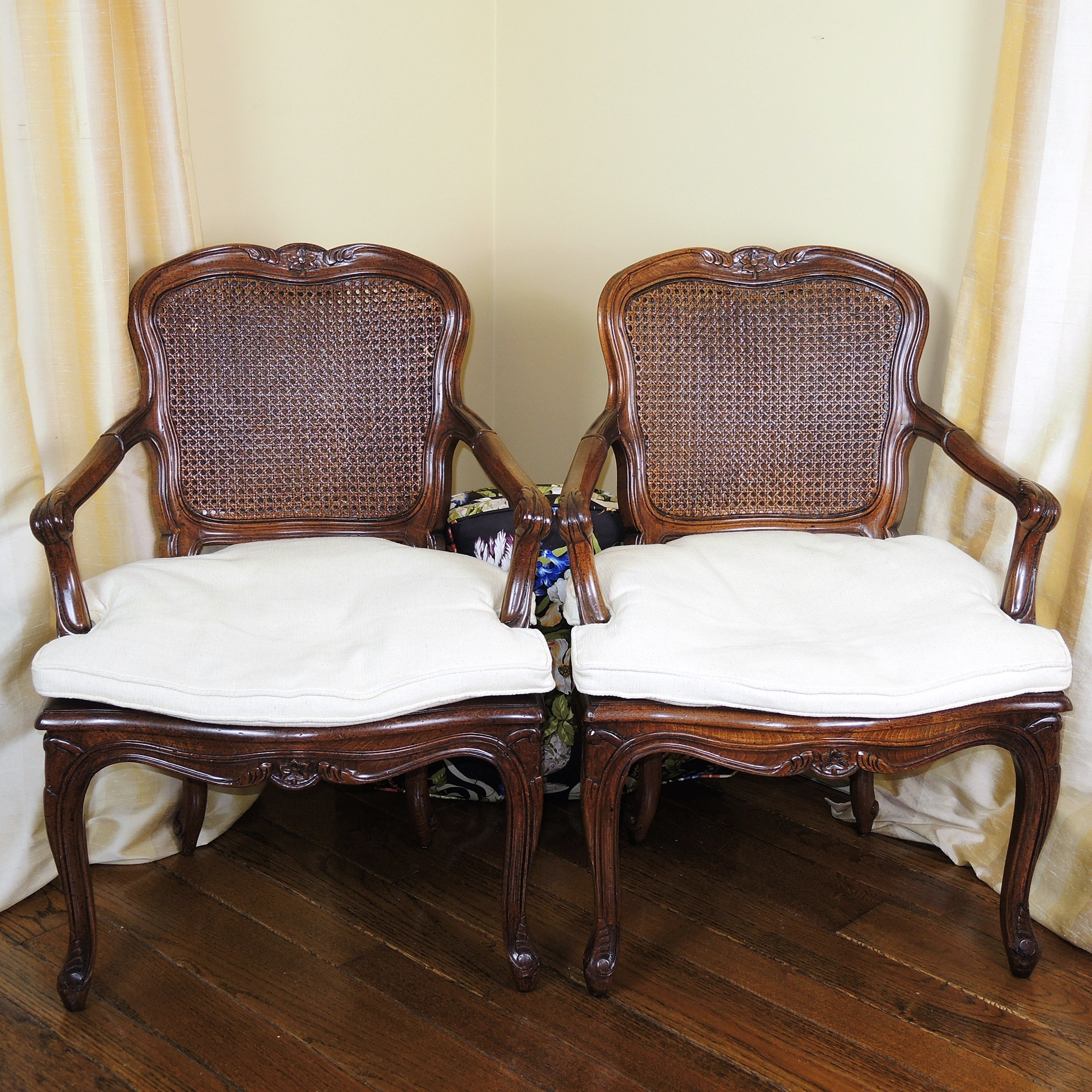 French Provincial Arm Chairs with Interchangeable Cushions