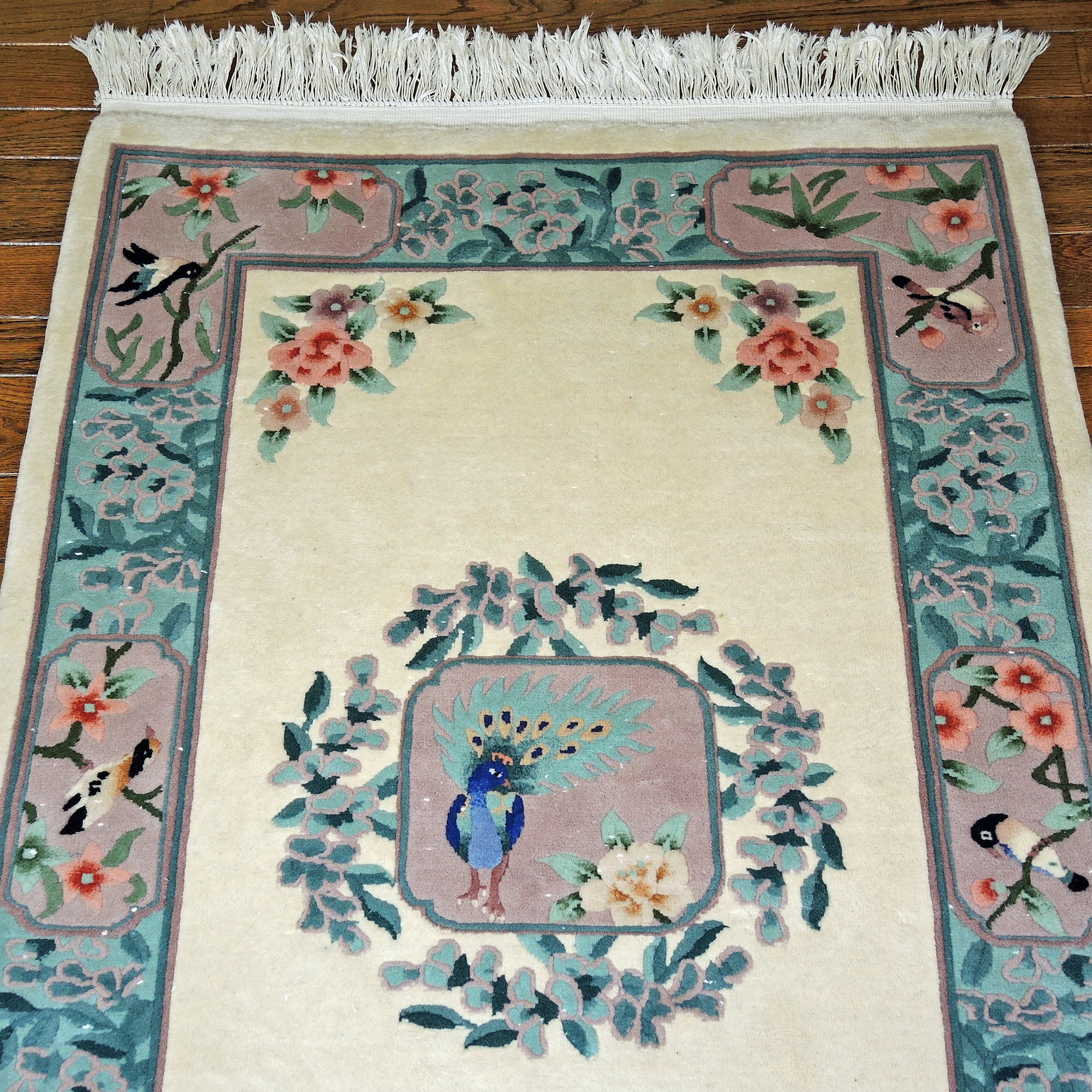 Finely Hand-Knotted Chinese Carved Pictorial Area Rug with Bird Design